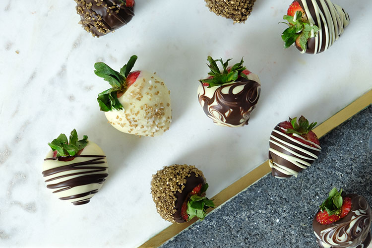 Chocolate covered strawberries with crystal sugar